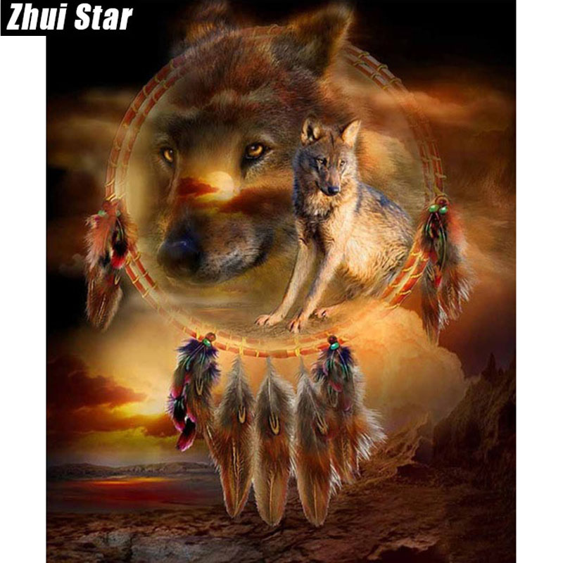 Zhui Star Diamond Painting Full Square Diamond Wolf 3D Embroidery Cross Stitch Rhinestone 5D DIY Painting wallpaper Decor