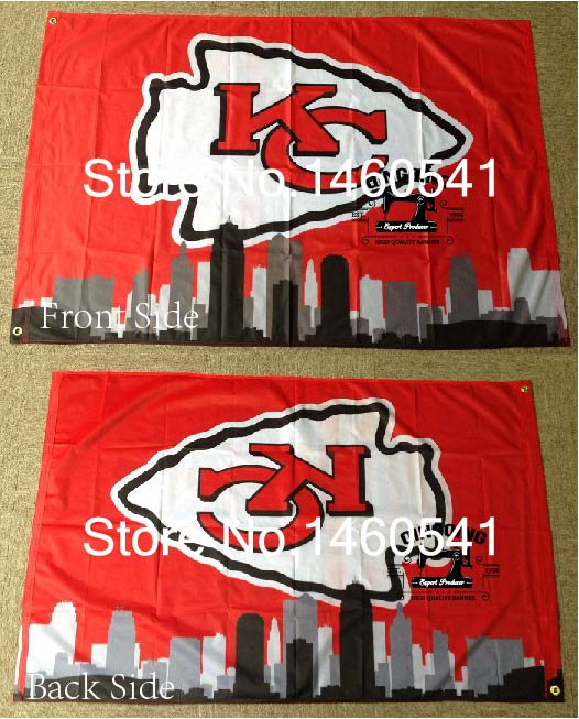 Kansas City Chiefs Kansas City Skyline Bayrağı 3ft x 5ft Polyester ile NFL Kansas City Chiefs Banner Uçan Boyut No.4 4